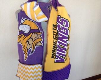 Minnesota Vikings Scarf, Upcycled Tshirt scarf, Vik2,Vikings Football Scarf