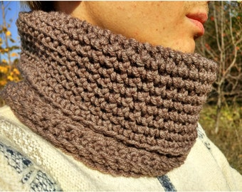 mens scarf, winter scarf, neckwarmer scarf ,mens neckwarmer, mens cowl, mens brown scarf, mens brown cowl, brown neckwarmer
