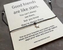 Friendship bracelet string, Silver star, Wish cards, Gift card, Wish Bracelet, Inspirational quote card, Best friend bracelet, quote cards