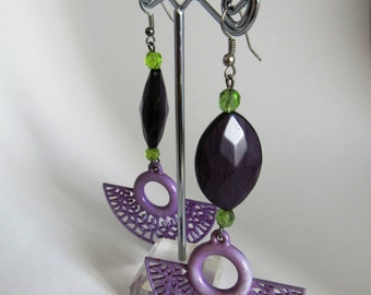 Long Earrings Purple and green, Handmade from Italy (low-cost collection cod.01)