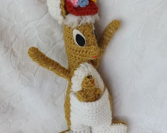Super Cute Vintage Crochet Crocheted Gold Mama Kangaroo Animal Doll Wearing Floral Hat w Baby in Pouch