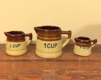 Vintage Stoneware/Pottery Measuring Cups Set of 3