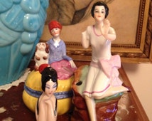 Antique art deco german lot, Fasold & Stauch, Carl Schneider and Henri Delcourt half doll, porcelain art deco batch one.
