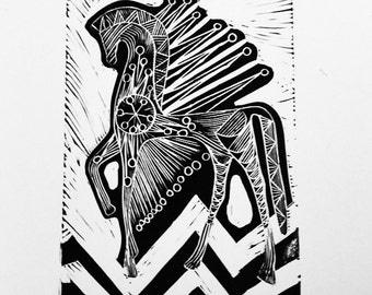 mid century greek mythology inspired horse print