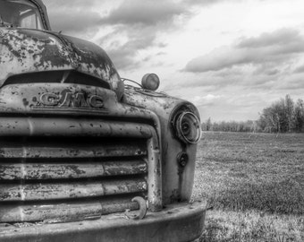 Abandoned Old GMC Truck in Field Black and White BNW Photograph Fine Art Print