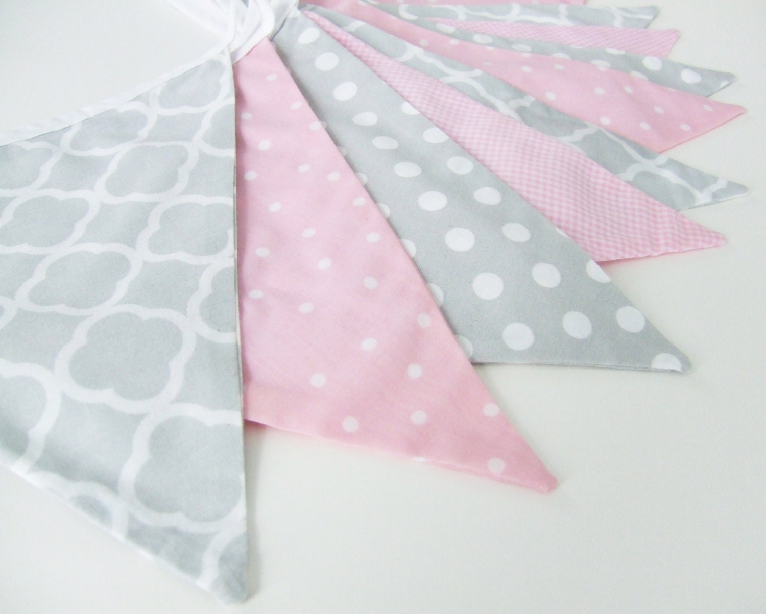 Pink and grey bunting baby girl decor nursery decor fabric for Grey baby fabric