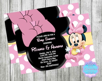 Baby MINNIE MOUSE Baby Shower Invitation, Birthday Invitation, Baby Shower Invite  PRINTABLE