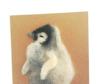 Penguin card, blank greetings card, felt penguin, Easter card, birds,penguin chick, Manx, Isle of Man,needlefelt penguin, baby,nature lover