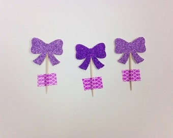 Bow Cupcake Toppers (set of 24-glitter)