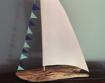 "Driftwood Sailboat with Real Sailcloth approx. 9""-13"""