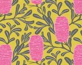 Banksia print Cotton Fabric in Pink. Australiana fabric. Botanical print fabric 100% Cotton. Flower fabric. Hakea print fabric
