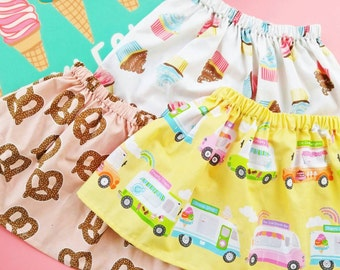 Baby Skirts and Toddler Skirts in Ice Cream Pretzel Sweets Dessert Fabric