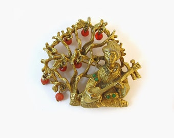 Signed Art Oriental Brooch