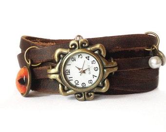Bracelet watch, leather watch, women watch, boho watch, wrist watch