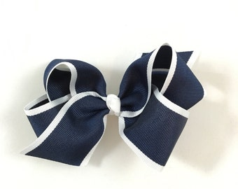 Classic Navy w/ White Piping Bow