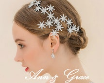 Lovely Crystal and Pearl Bridal Headband, Star Tiara, Rhinestone Bridal Crown, Wedding Headpiece