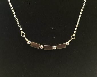 Hematite Black Rectangle Short Simple Necklace Edgy