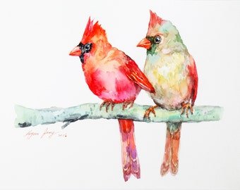 Cardinal Couple Original Watercolor, Bird Watercolor Painting, Bird Illustration, Animal Watercolor, Home Decor, Wall Art, Modern Bird Art