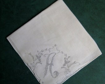 "Vintage Initial ""A"" Hand Embroidery Linen White Handkerchief 12"" Square Xmas Gift Special Friend"