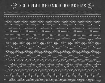 Chalkboard border floral clipart set, chalkboard doodles clip art set, chalk borders, chalkboard ornaments, dividers, elements