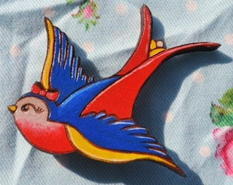 Nautical Tattoo Style Swallow Brooch