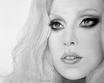 Lady Gaga Original Fine Art Pencil Drawing
