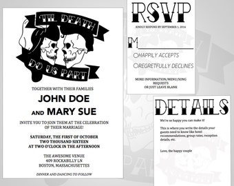 3 Piece ROCKABILLY Wedding Invitation, Printable Wedding Invitations,  Editable Text