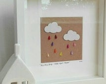 Drip Drip Drop...Little April Shower framed paper craft, 3D cloud and raindrops art, nursery decor, baby gift, girl's room