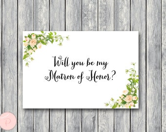 Will You Be My Matron of Honor Printable Cards, Wedding Printable, Wedding Cards WD12 TH01