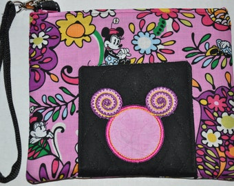 New! Disney Mickey Mouse  Pink 100% Cotton Quilted Wristlet - Coin Purse - Cell Phone Case