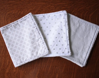 Gray burp cloths - Polka dot burp cloths - Gender neutral burp cloths - White burp cloths - Baby gift