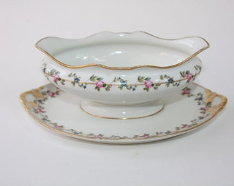 Wm Guerin & Co. Limgoes Gravy Sauce Boat Gold Trim Pink Roses