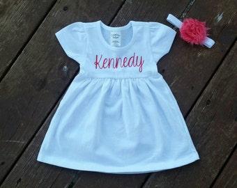 Baby Girl Dress with Name and Headband