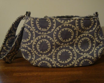 Little Dog Carrier Sling Bag - Lavender / White print Fabric  (with adjustable padded strap)
