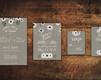 White Anemone Wedding Stationary Template Bundle