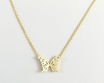 Gold necklace, bridesmaid gift,Christmas gift,butterfly necklace,shinny necklace,