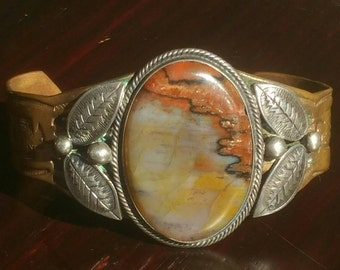 Old Navajo Petrified Wood Sterling Silver and Copper stamped Indian Cuff Bracelet