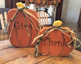 """Thanksgiving Prim Pumpkins (large 7"""" x 4 1/2"""") small (5"""" x 5 1/4"""") sold as a set"""