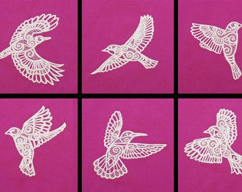 6 Embroidered Fabric Blocks:  White Lace Birds for Quilts, Wall Hangings, etc.