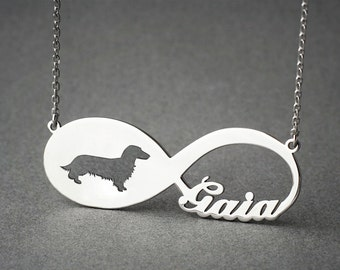 Personalised INFINITY DACHSHUND LONGHAIRED Necklace - Dachshund Longhaired necklace - Doxie Name Necklace - Memorial Necklace - Dog Necklace