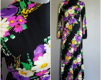 1970's vintage floral maxi dress. 70's boho black and neon dress. Women's vintage maxi dress with long sleeves and floral pattern. Size L.