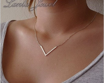 Triangle Necklace,  V Necklace, 925 sterling silver trigon necklace,