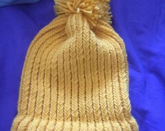 Golden Loom Knit Children's Pom Pom Hat