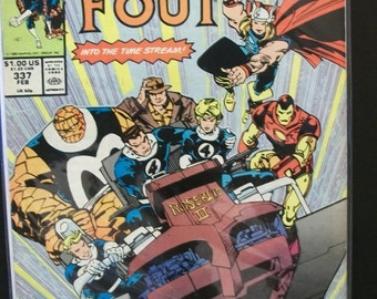 1990 The Fantastic Four #337 March  Guest The Avengers  Into The Time Stream  Very Good-Fine Vintage Marvel Comic Book