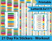 21 Day Fix  Stickers, 21 Day Fix Workout Stickers, 21 Day Fix srickers for ECLP, Printable Stickers for Erin Condren LP -Instant Download
