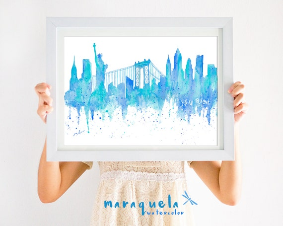 ORIGNAL NEWYORK Skyline HANDMADE Blue hues,original watercolor, skyliner usa,ny painted hand made, gift New york decoration trip, wall art