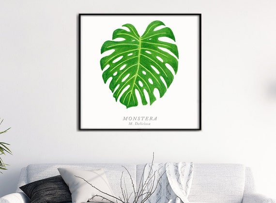 Monstera Leaf I Watercolor, Tropical Plants Botanical art, Green leaf Nature art, Spring decor, Monstera leaf watercolor original painting