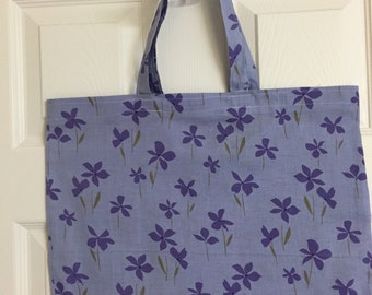 Reusable Grocery / Shopping Bag in a Purple Flower Print