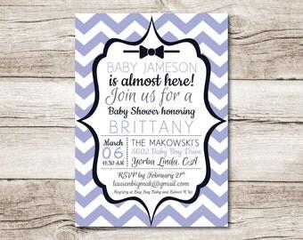 Bow Tie Baby Shower Invitation - 5 x 7 - Blue - Digital File
