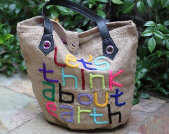 "Burlap ""Think About Earth"" Tote"
